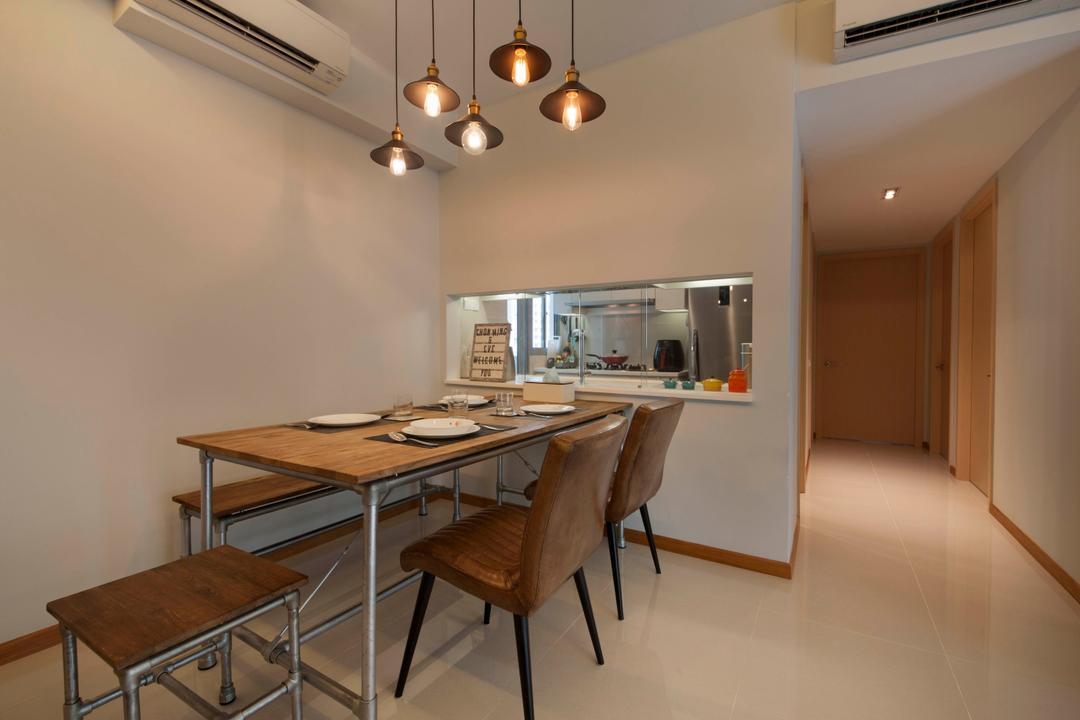 A Treasure Trove (Punggol), Space Factor, Industrial, Dining Room, Condo, Dining Table, Dining Bench, Dining Chairs, Dining, Dining Lights, Walkway, Flooring, Tiles, Aircon, Hack, Chair, Furniture, Table, Corridor, Indoors, Interior Design, Room