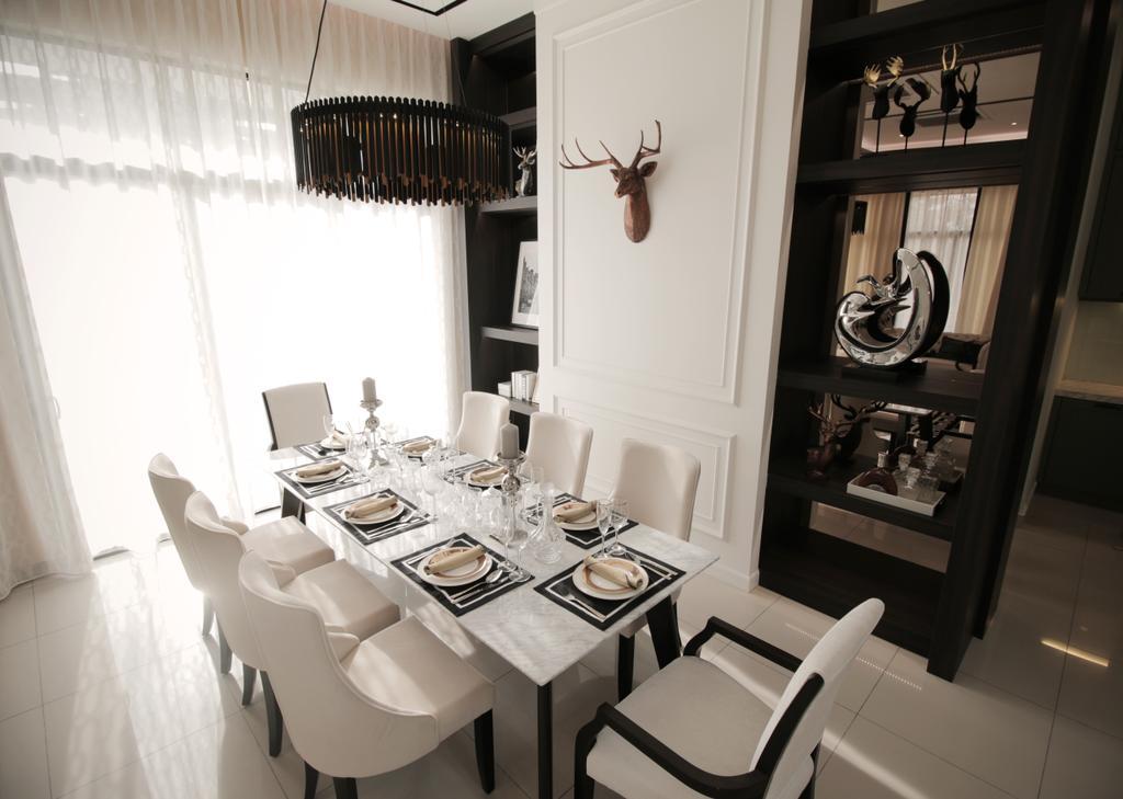 Modern, Landed, Dining Room, Verge 32@Melawati, Interior Designer, Metrics Global Sdn Bhd, Indoors, Interior Design, Room, Dining Table, Furniture, Table