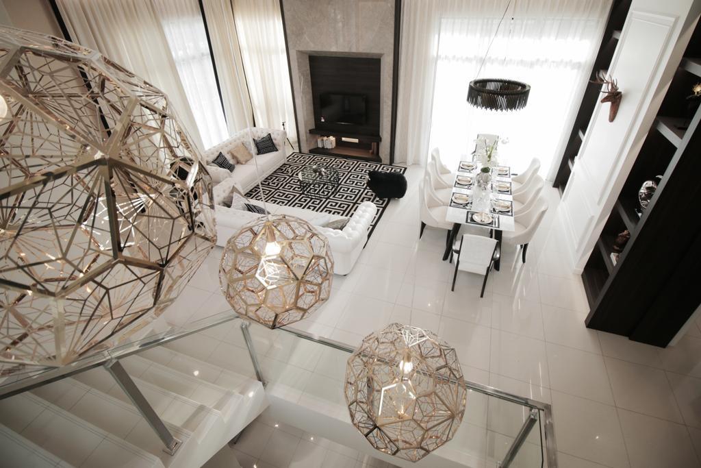 Modern, Landed, Living Room, Verge 32@Melawati, Interior Designer, Metrics Global Sdn Bhd, Dining Table, Furniture, Table, Dining Room, Indoors, Interior Design, Room, Banister, Handrail