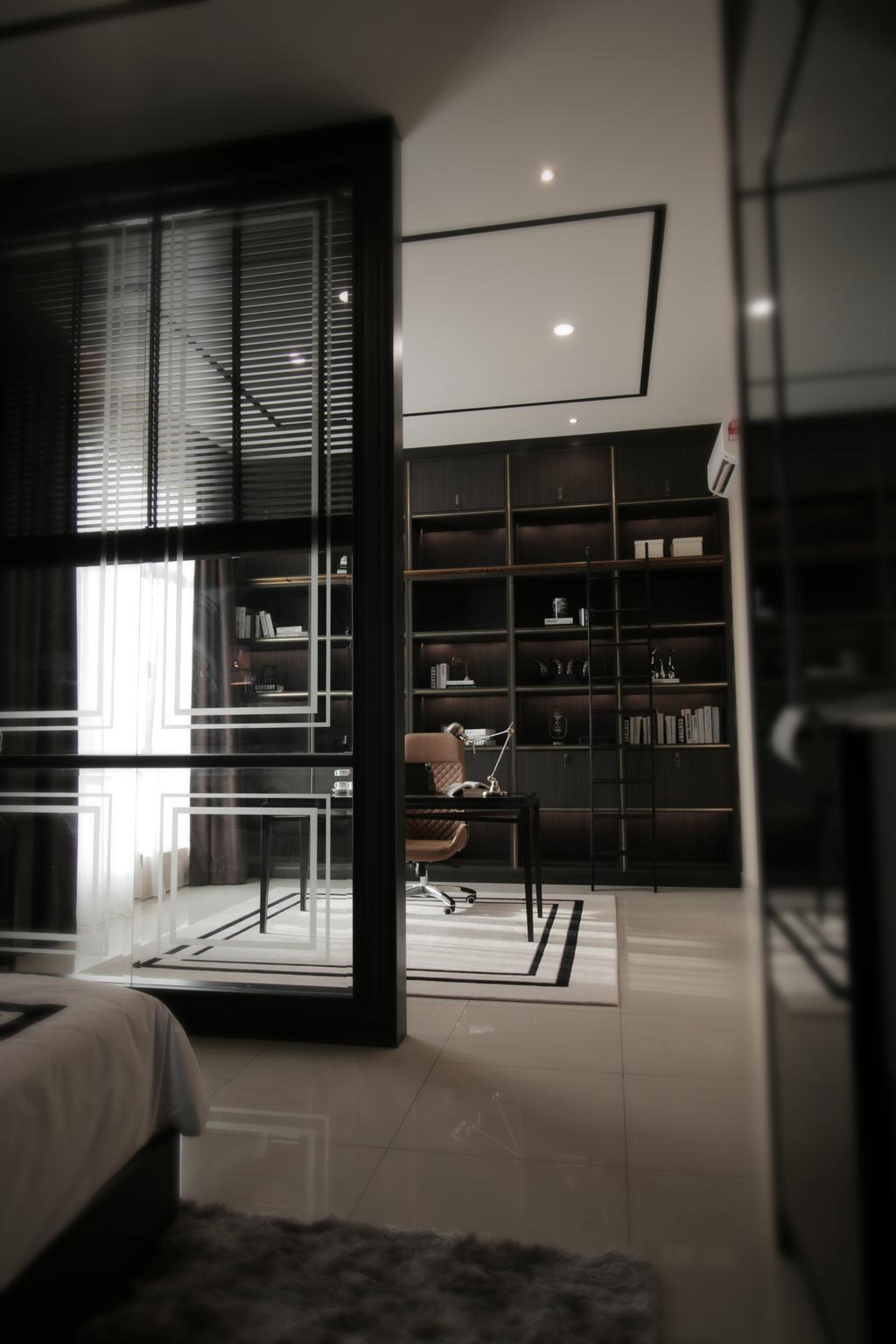 Modern, Landed, Study, Verge 32@Melawati, Interior Designer, Metrics Global Sdn Bhd, Bookcase, Furniture