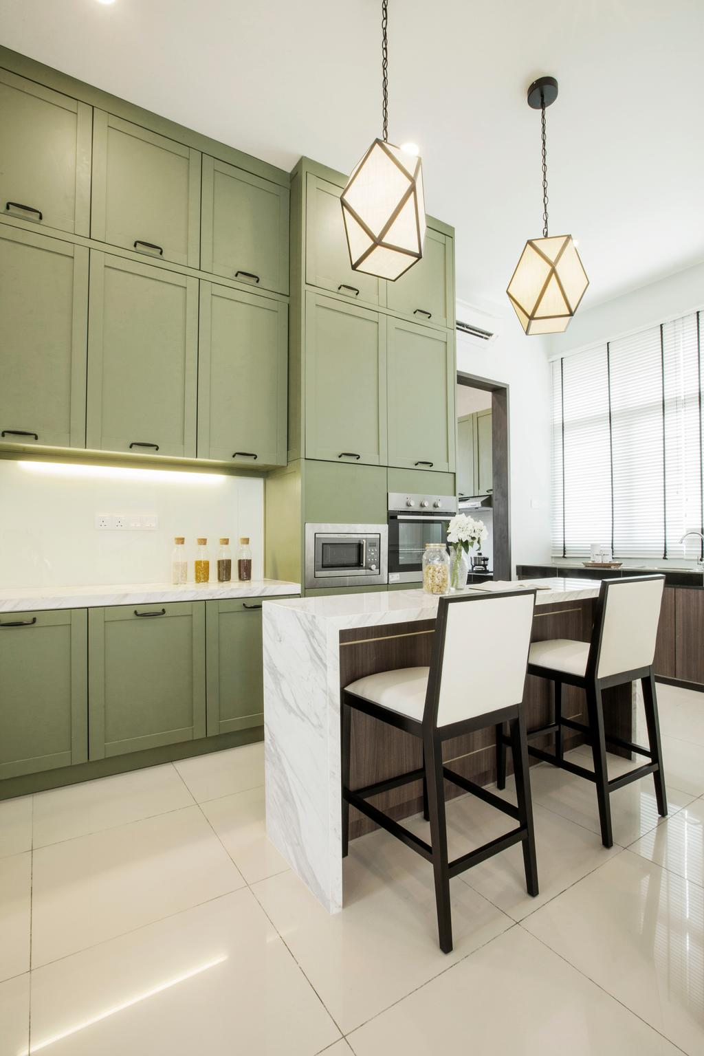 Modern, Landed, Kitchen, Verge 32@Melawati, Interior Designer, Metrics Global Sdn Bhd, Indoors, Interior Design, Room, Dining Table, Furniture, Table, Chair, Appliance, Electrical Device, Microwave, Oven