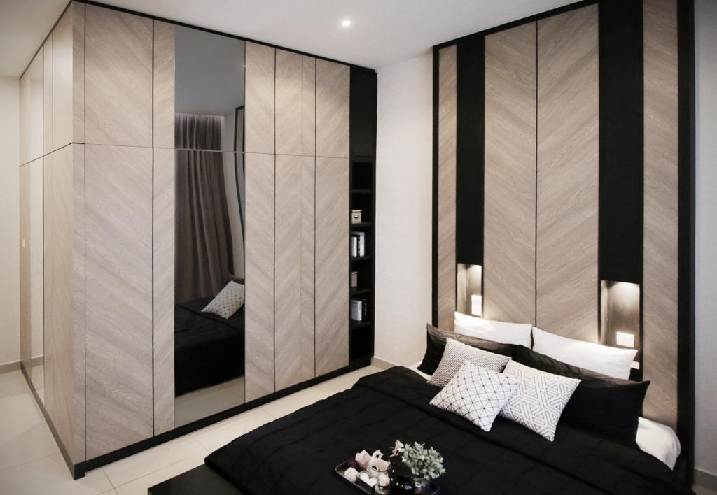 Modern, Landed, Bedroom, Verge 32@Melawati, Interior Designer, Metrics Global Sdn Bhd, Indoors, Interior Design, Room, Closet, Furniture, Wardrobe