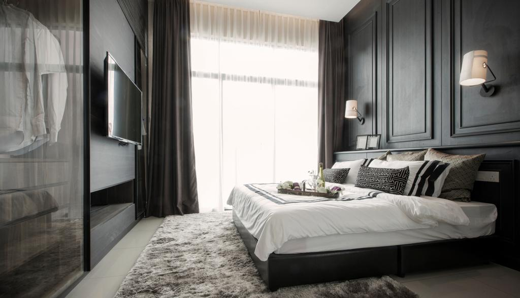 Modern, Landed, Bedroom, Verge 32@Melawati, Interior Designer, Metrics Global Sdn Bhd, Bed, Furniture, Indoors, Interior Design, Room
