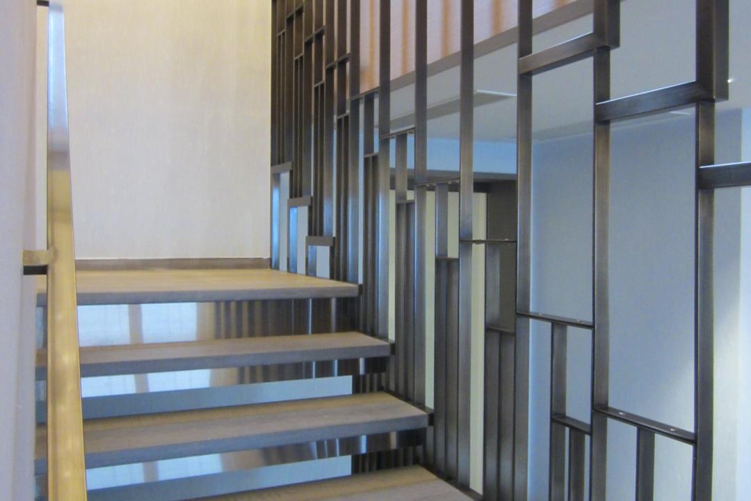 薈萃苑, 駟達建築設計, 當代, 私家樓, Bookcase, Furniture, Banister, Handrail, Staircase