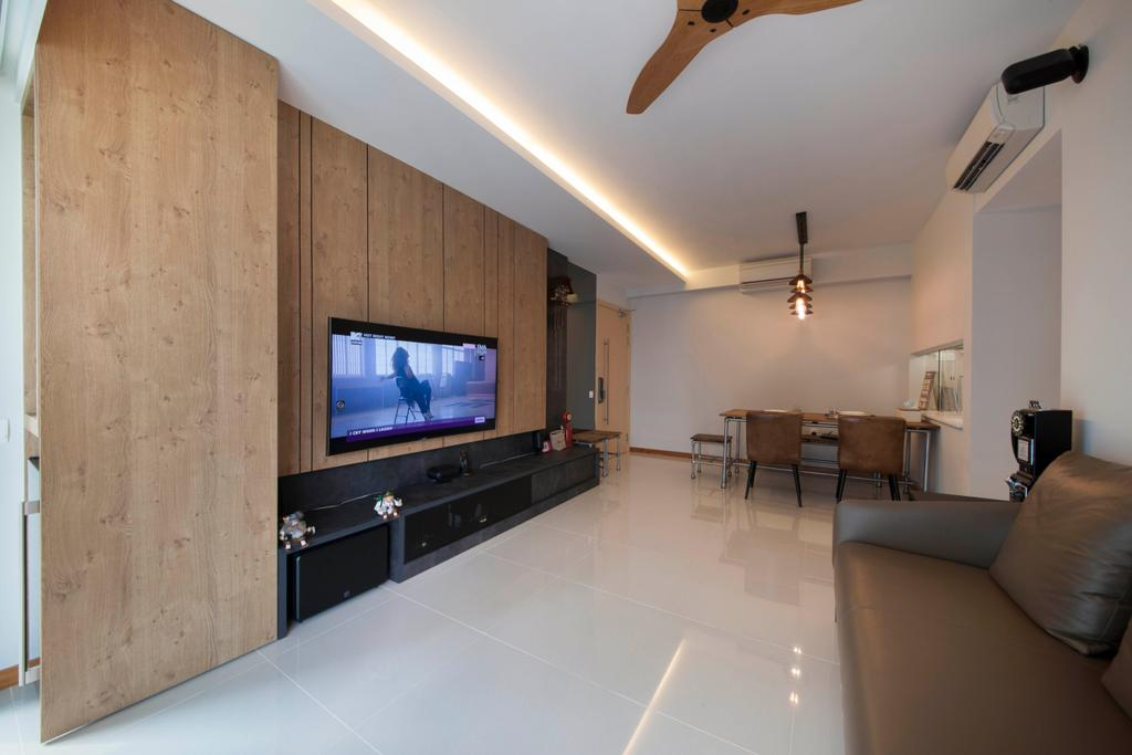 Industrial, Condo, Living Room, A Treasure Trove (Punggol), Interior Designer, Space Factor, Tv Console, Television, Sofa, Ceiling Fan, Cove Light, Aircon, Tiles, Spacious, Bright, Wood, Wood Accents, Brown, Leather Sofa, Flooring, Couch, Furniture