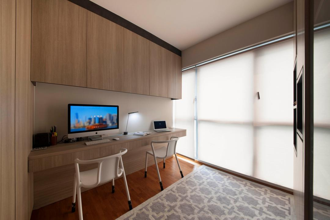 A Treasure Trove (Punggol), Space Factor, Industrial, Bedroom, Condo, Study, Desk, Laptop, Computer, Chairs, Study Chairs, Flooring, Blinds, Shelves, Cupboard, Wood, Dining Table, Furniture, Table, HDB, Building, Housing, Indoors