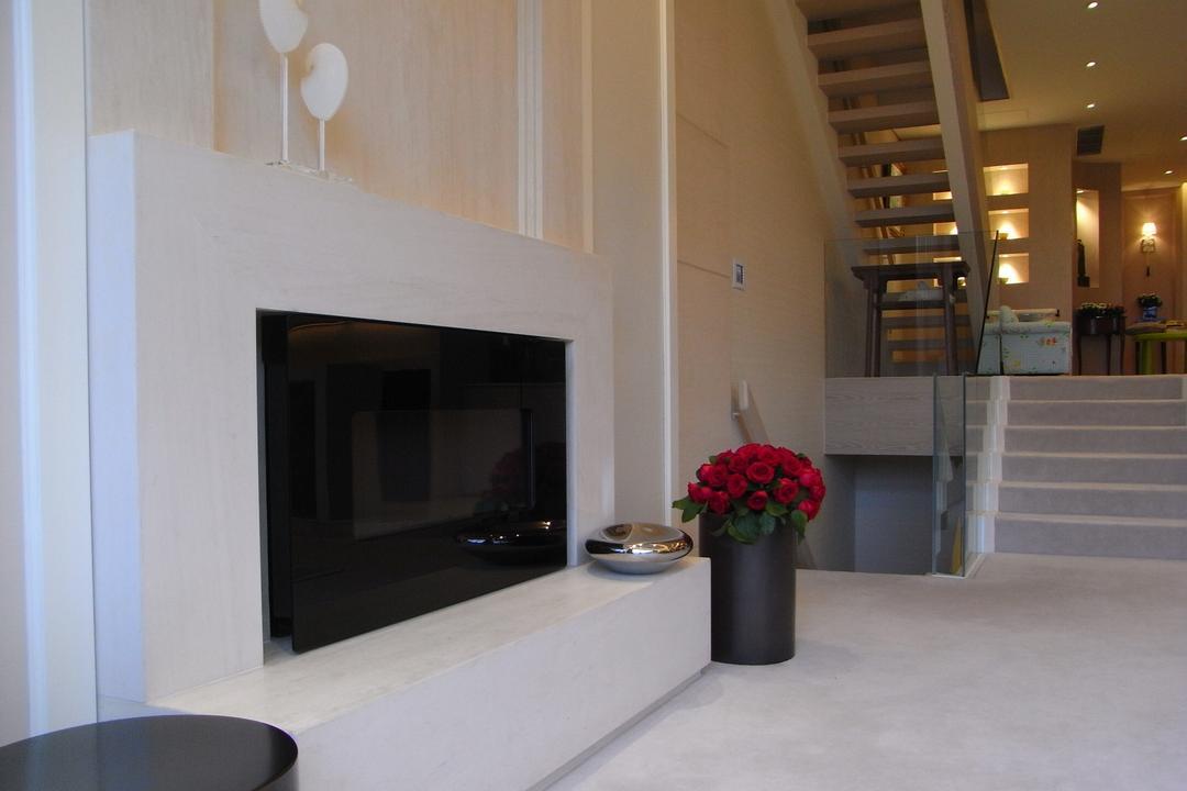 和福道, 駟達建築設計, 當代, 獨立屋, Fireplace, Hearth, Banister, Handrail, Staircase, Flora, Jar, Plant, Potted Plant, Pottery, Vase