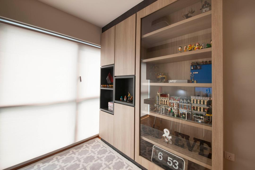 A Treasure Trove (Punggol), Space Factor, Industrial, Study, Condo, Shelving, Book Shelf, Toys, Toy Shelf, Collectible Items, Cabinet, Storage, Wood, Bookcase, Display Cabinet, Blinds, HDB, Building, Housing, Indoors, Loft