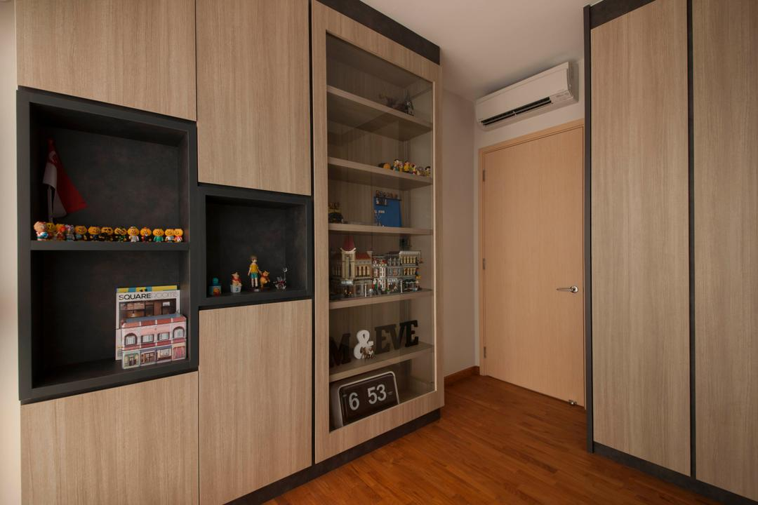 A Treasure Trove (Punggol), Space Factor, Industrial, Study, Condo, Shelving, Book Shelf, Toys, Toy Shelf, Collectible Items, Cabinet, Storage, Wood, Flooring, Cupboard, Laminate, Collectibles, Display, Toys Display, Lego, Shelf, Electronics, Entertainment Center