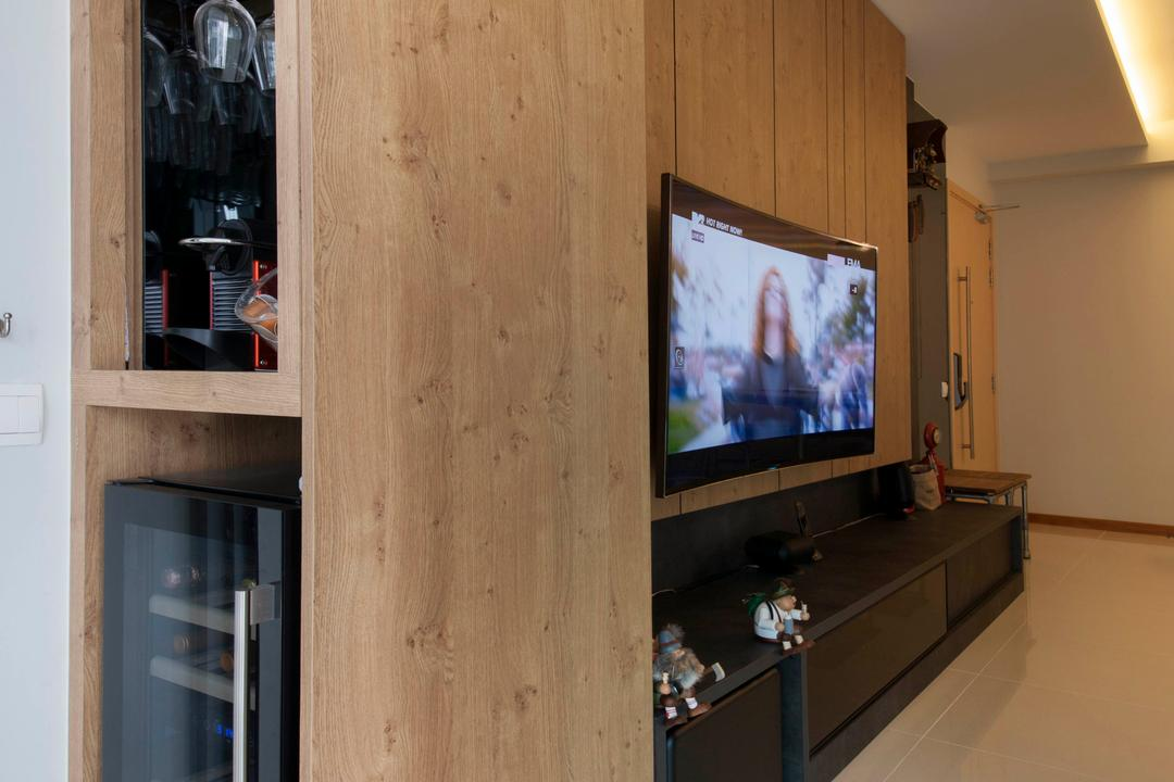 A Treasure Trove (Punggol), Space Factor, Industrial, Living Room, Condo, Wine Chiller, Wine Glass, Flooring, Cove Light, Wood, Tv, Tv Console, Concealed, Hidden, Wine Rack, Electronics, Entertainment Center, Appliance, Electrical Device, Oven