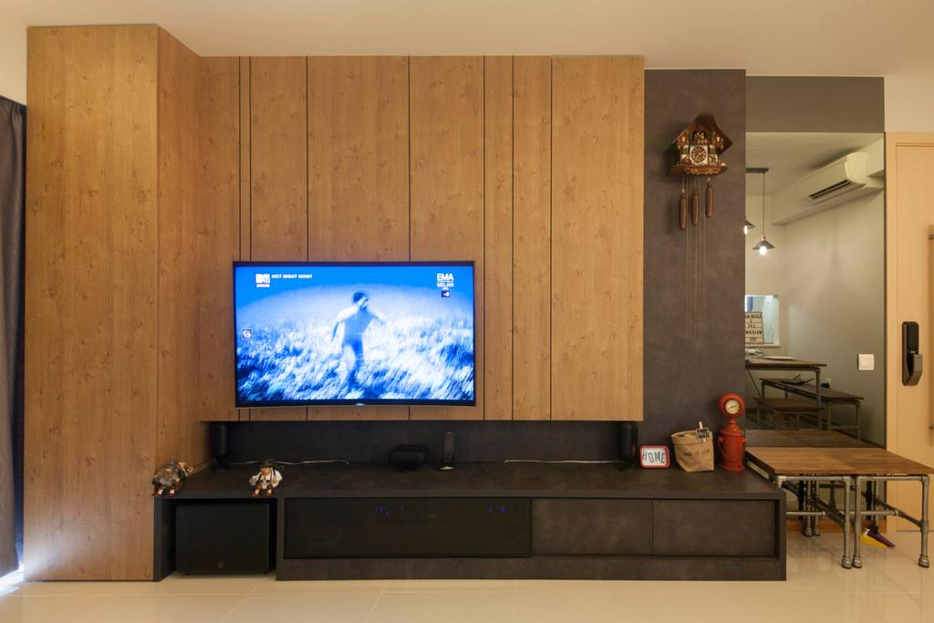 Industrial, Condo, Living Room, A Treasure Trove (Punggol), Interior Designer, Space Factor, Tv, Television, Tv Console, Tiles, Flooring, Dining Table, Furniture, Table, Electronics, Entertainment Center, Lcd Screen, Monitor, Screen