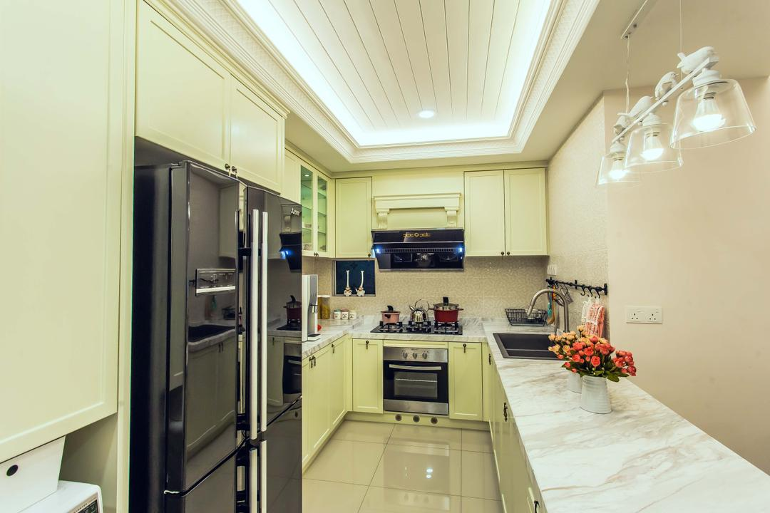Oasis, Zeng Interior Design Space, Vintage, Kitchen, Condo, Cove Lighting, Concealed Lighting, Kitchen Countertop, Countertop, Pendant Lamps, Hanging Lamps, Kitchen Cabinets, Cabinetry, Refrigerator, Pastel, Oven, Stove, Exhaust Hood, Appliance, Electrical Device, Apartment, Building, Housing, Indoors