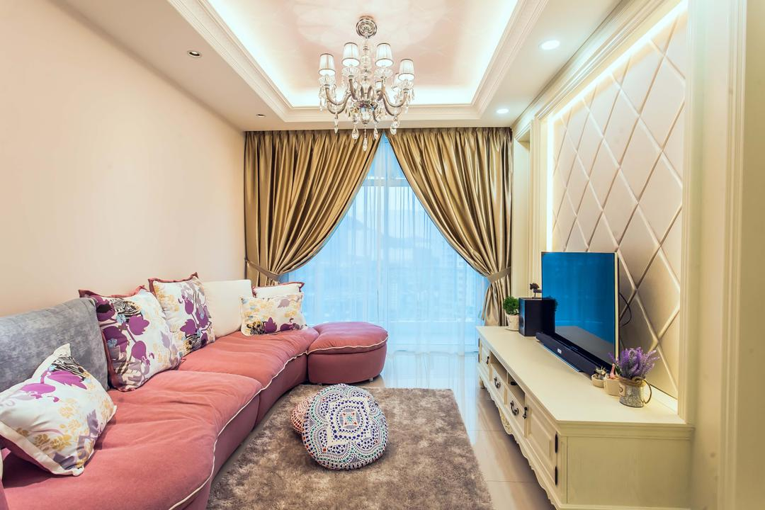 Oasis, Zeng Interior Design Space, Vintage, Living Room, Condo, Elegant, Luxe, Chandelier, Sofa, Couch, Pink, Girly, Girlish, Cove Lighting, Concealed Lighting, Feature Wall, Tv Console, Tv Cabinet, Curtains, Gold, Molding, Furniture, Lamp, Indoors, Room, Bedroom, Interior Design