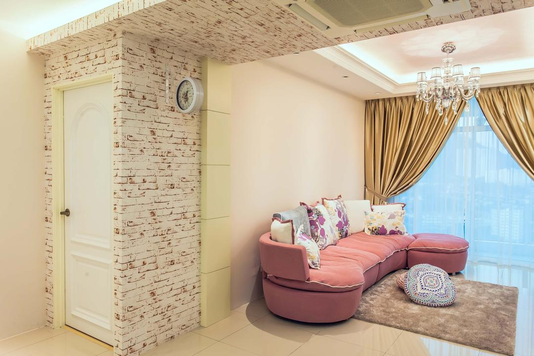 Oasis, Zeng Interior Design Space, Vintage, Living Room, Condo, Wallpaper, Concealed Lighting, Cove Lighting, Pink, Sofa, Couch, Carpet, Chandelier, Curtains, Furniture