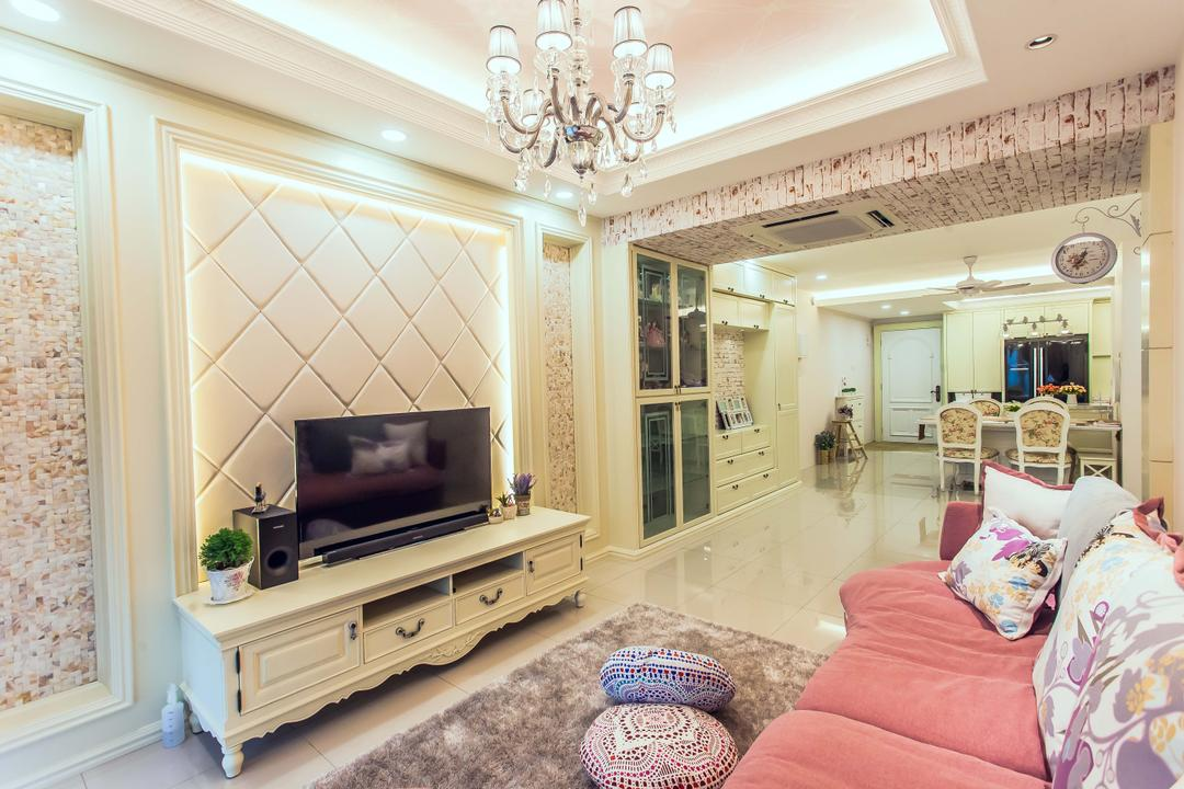 Oasis, Zeng Interior Design Space, Vintage, Living Room, Condo, Chandelier, False Ceiling, Feature Wall, Tv Console, Tv Cabinet, Carpet, Pink, Sofa, Couch, Luxe, Elegant, Victorian, Indoors, Interior Design, Room