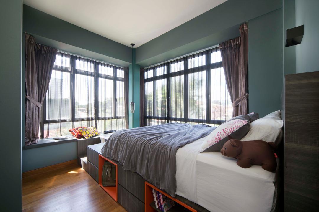 Casero @ Dunman, Versaform, Eclectic, Bedroom, Condo, Bed With Storage, Cozy, Cosy, Curtains, Bay Window, Comfy, Bed, Furniture, Indoors, Interior Design, Room
