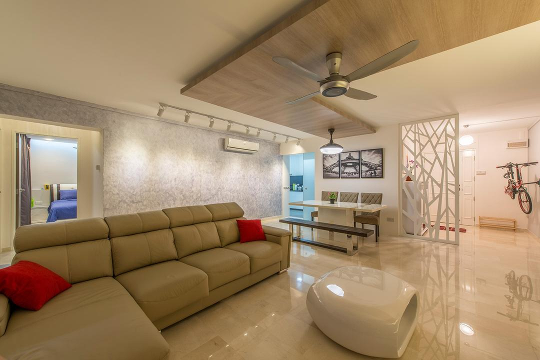 Compassvale Drive, Ace Space Design, Contemporary, Living Room, HDB, Wooden Panels, Panel, Sofa, Couch, Leather Sofa, Coffee Table, Ceiling Fan, Furniture, Dining Room, Indoors, Interior Design, Room, Bench