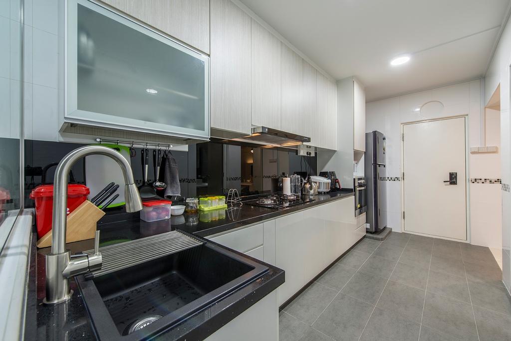 Contemporary, HDB, Kitchen, Compassvale Drive, Interior Designer, Ace Space Design, Kitchen Cabinets, Cabinetry, Kitchen Sink, Utensil Rack