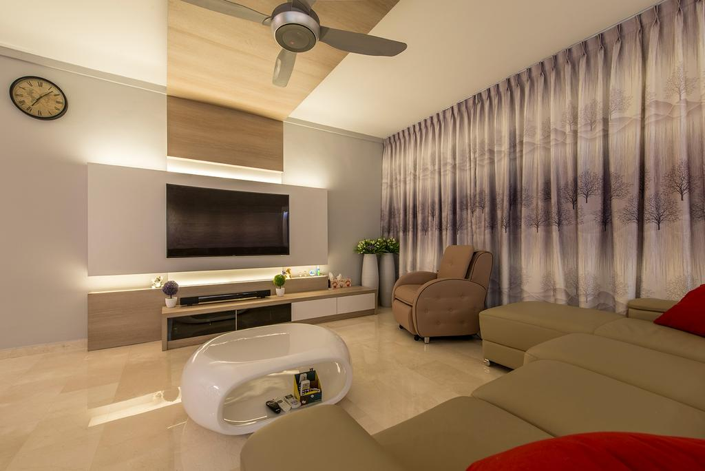 Contemporary, HDB, Living Room, Compassvale Drive, Interior Designer, Ace Space Design, Armchair, Sofa, Couch, Coffee Table, Feature Wall, Wooden Panels, Panels, Cove Lighting, Tv Console, Tv Cabinet, Curtain, Furniture, Indoors, Interior Design