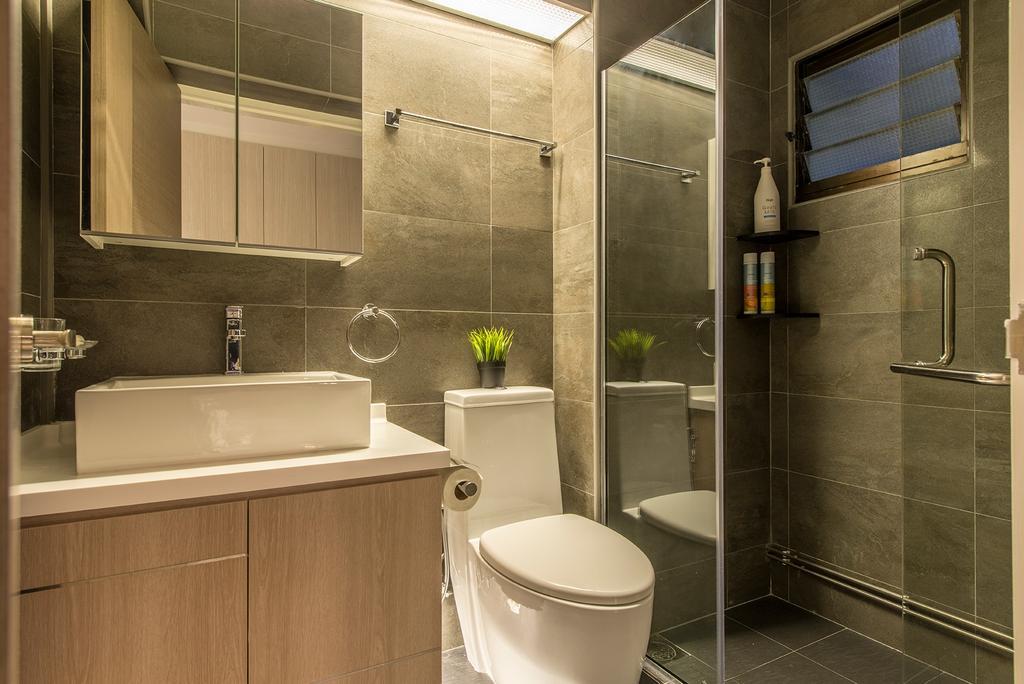 Contemporary, HDB, Bathroom, Compassvale Drive, Interior Designer, Ace Space Design, Bathroom Vanity, Bathroom Sink, Mirror, Shower, Shower Area, Flora, Jar, Plant, Potted Plant, Pottery, Vase, Indoors, Interior Design, Room, Toilet