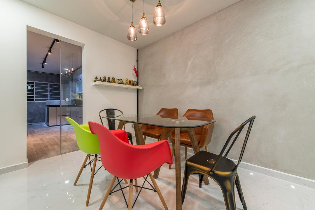 Jurong West Street 41, Ace Space Design, Eclectic, Dining Room, HDB, Dining Table, Dining Room Chairs, Eames Chair, Colourful, Colourful Furniture, Colors, Colours, Pendant Lamp, Hanging Lamp, Chair, Furniture, Sink, Indoors, Interior Design, Room, Molding