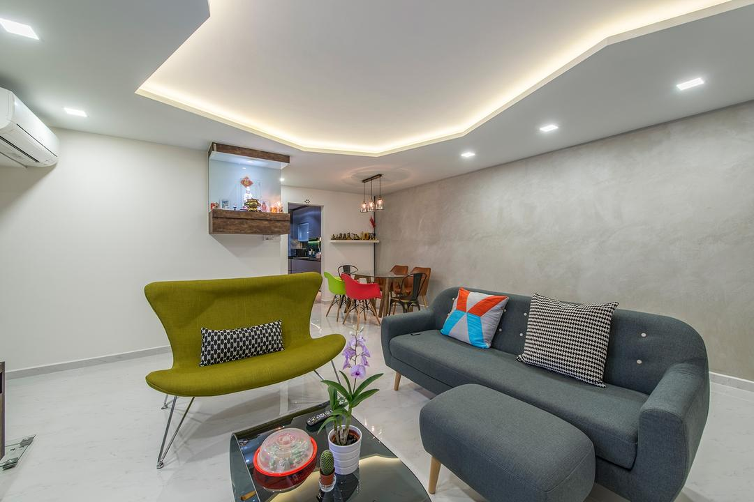 Jurong West Street 41, Ace Space Design, Eclectic, Living Room, HDB, Sofa, Couch, Fabric Sofa, Colourful, Colourful Furniture, Colours, Coffee Table, False Ceiling, Cove Lighting, Recessed Lighting, Furniture, Chair