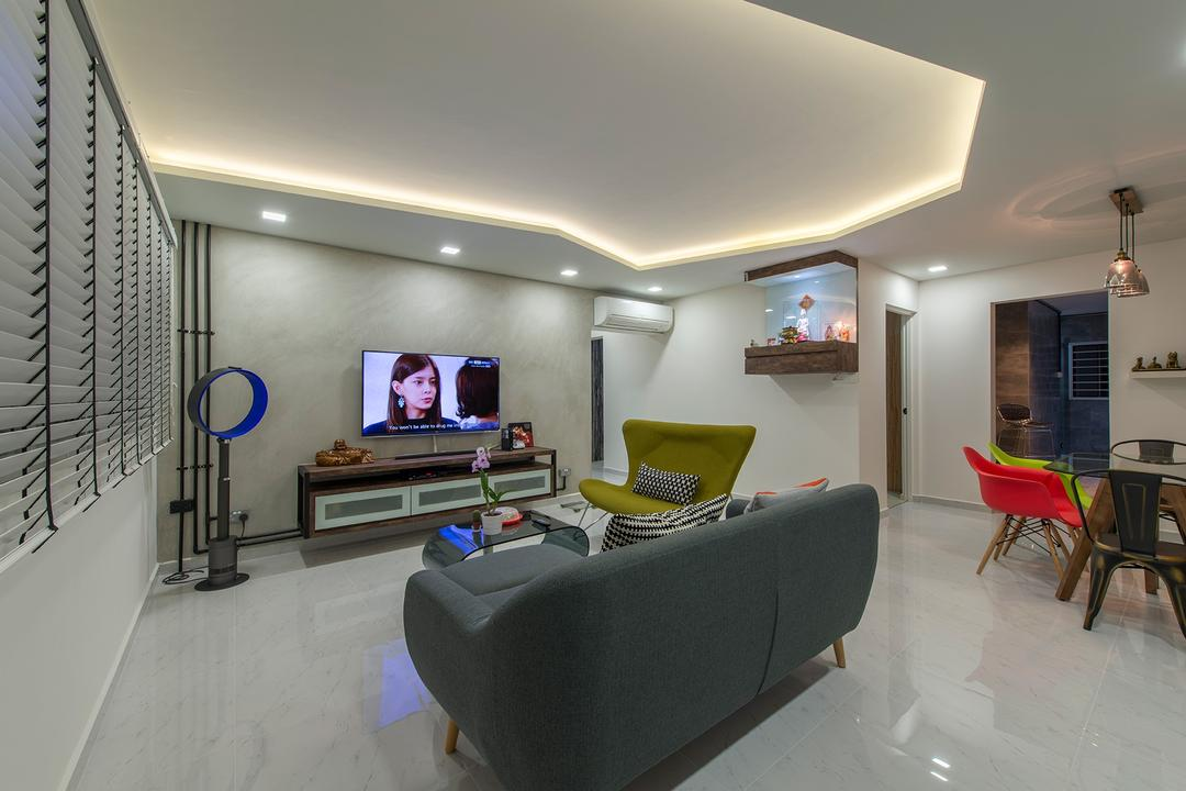 Jurong West Street 41, Ace Space Design, Eclectic, Living Room, HDB, Blinds, Sofa, Couch, False Ceiling, Cove Lighting, Colourful Furniture, Colors, Colours, Colourful, Tv Cabinet, Tv Console, Furniture, Chair, Flora, Jar, Plant, Potted Plant, Pottery, Vase, Lighting