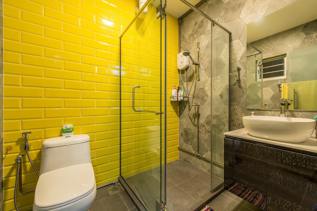 Jurong West Street 41, Ace Space Design, Eclectic, Bathroom, HDB, Bright Colours, Colours, Colourful, Yellow, Brick Walls, Striking, Shower, Shower Area, Bathroom Vanity, Bathroom Sink, Mirror, Sink, Indoors, Interior Design, Room