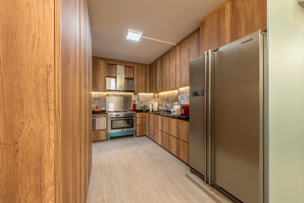 Eclectic, HDB, Kitchen, Woodlands Street 82, Interior Designer, Ace Space Design, Refrigerator, Kitchen Cabinet, Cabinetry, Oven, Exhaust Hood, Wood, Wooden, Brown, Brown Cabinet, Appliance, Electrical Device, Fridge