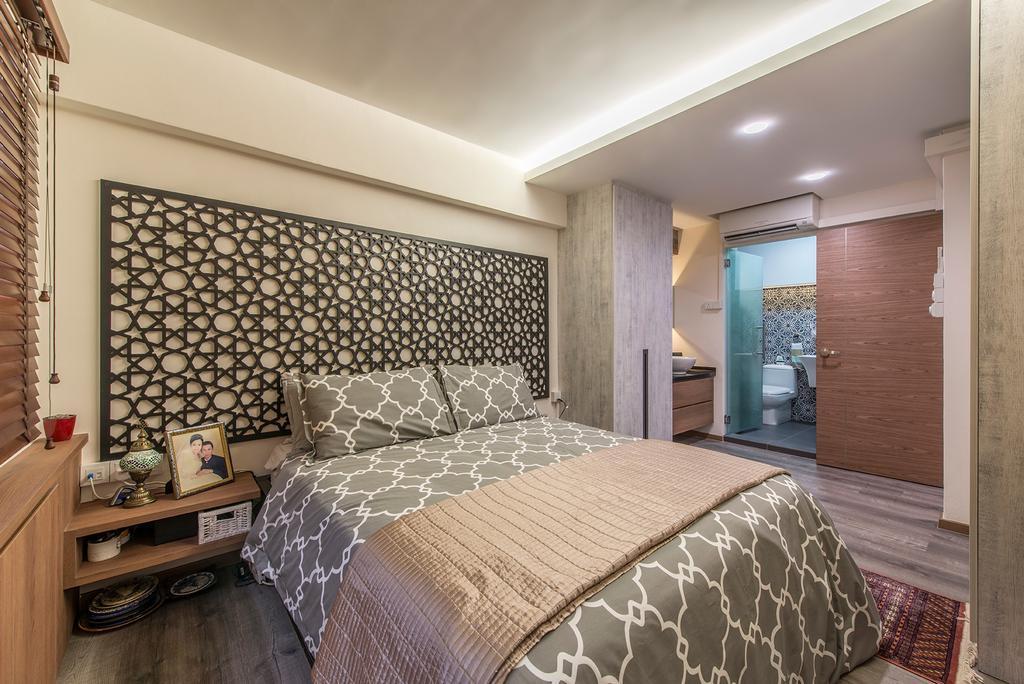 Eclectic, HDB, Bedroom, Woodlands Street 82, Interior Designer, Ace Space Design, Feature Wall, False Ceiling, Prints, Morroccan, Arabian, Bedside Table, Wood, Indoors, Interior Design, Room