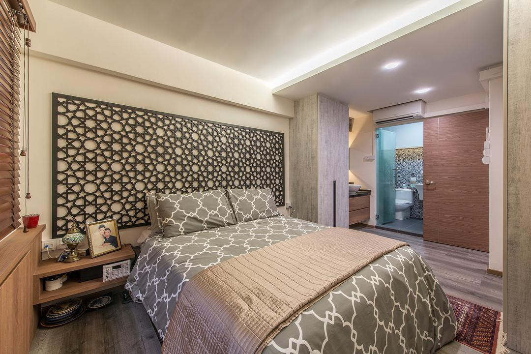 Woodlands Street 82, Ace Space Design, Eclectic, Bedroom, HDB, Feature Wall, False Ceiling, Prints, Morroccan, Arabian, Bedside Table, Wood, Indoors, Interior Design, Room