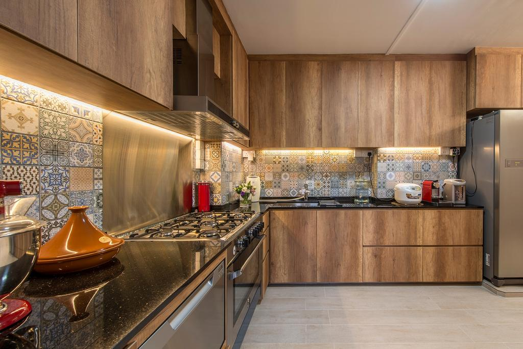 Eclectic, HDB, Kitchen, Woodlands Street 82, Interior Designer, Ace Space Design, Backsplash, Backsplash Tile, Cove Lighting, Kitchen Cabinet, Cabinetry, Brown Cabinet, Exhaust Hood, Appliance, Electrical Device, Fridge, Refrigerator