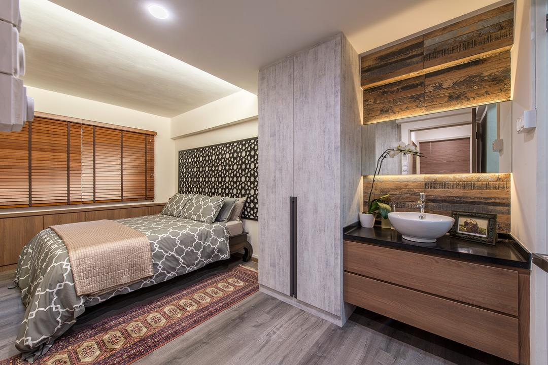 Woodlands Street 82, Ace Space Design, Eclectic, Bedroom, HDB, Sink, Bowl Sink, Mirror, Cabinet, Bathroom Cabinet, Wooden Flooring, Morroccan, Arabian, Blinds, Cove Lighting, False Ceiling, Feature Wall, Indoors, Interior Design