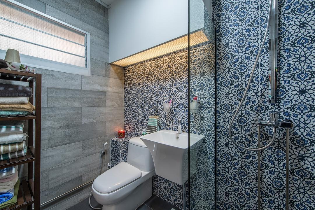 Woodlands Street 82, Ace Space Design, Eclectic, Bathroom, HDB, Prints, Tiles, Bathroom Tiles, Bathroom Sink, Shower Area, Bathroom Rack, Towel Rack, Indoors, Interior Design, Room, Wall