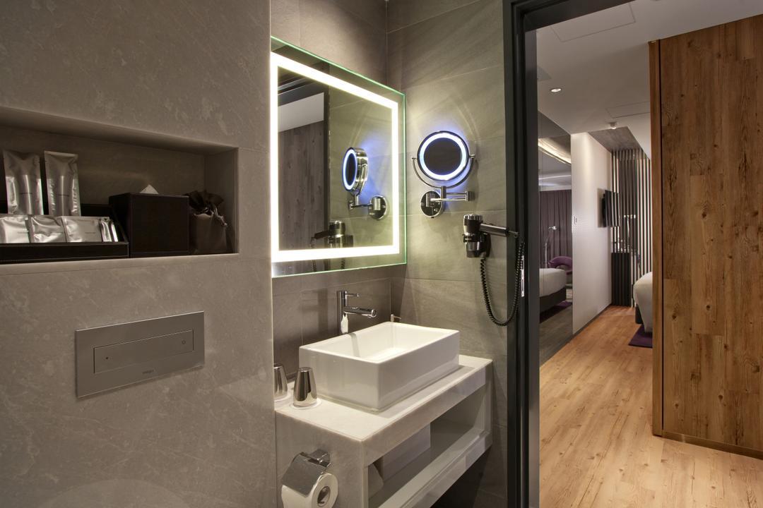 紫珀酒店, 駟達建築設計, 當代, 商用, Sink, Safe, 浴室, Indoors, Interior Design, Room