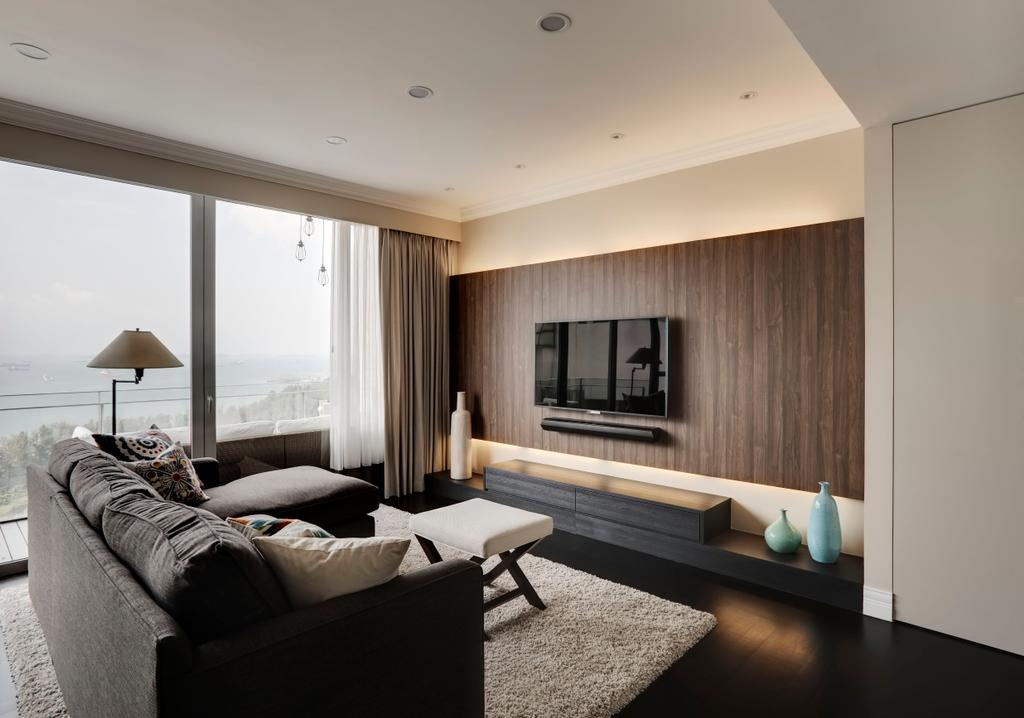 Contemporary, Condo, Living Room, Aalto, Interior Designer, The Orange Cube, Cove Light, Wood Feature Wall, Feature Wall, Tv Console, White Rug, White Carpet, Minimalist, Dark Grey Sofa, Indoors, Interior Design, Room, Couch, Furniture