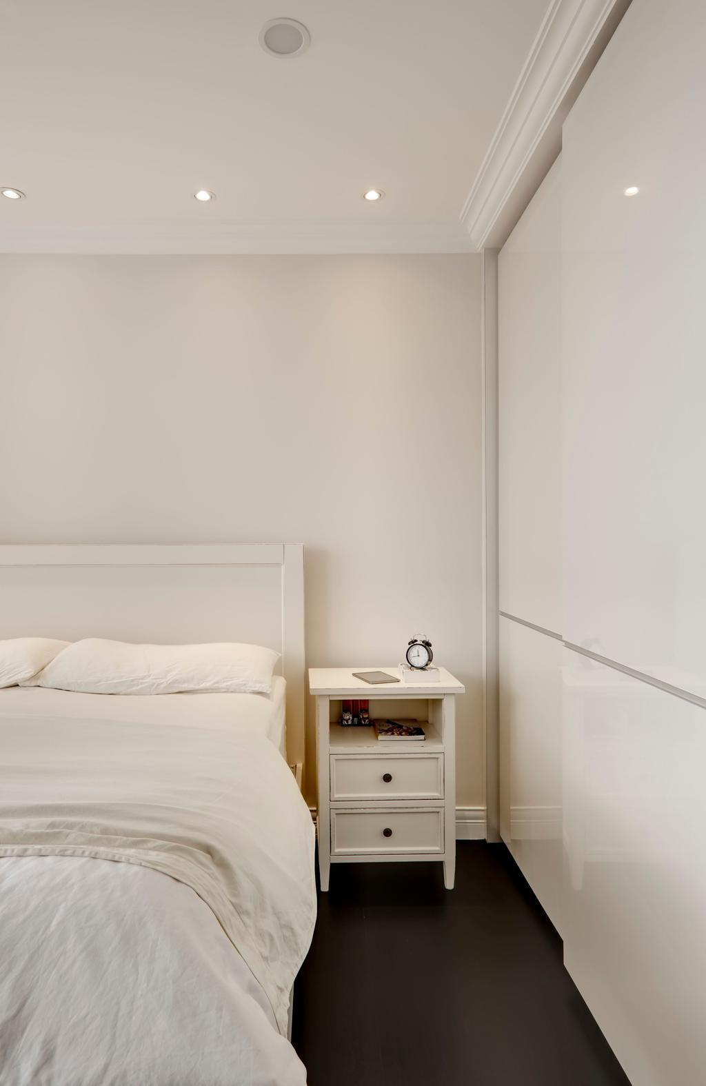 Contemporary, Condo, Bedroom, Aalto, Interior Designer, The Orange Cube, White, Bed Frame, Down Lights, White Side Table, Sliding Door Wardrobe, White Wardrobe, White Cupboard, Shelf