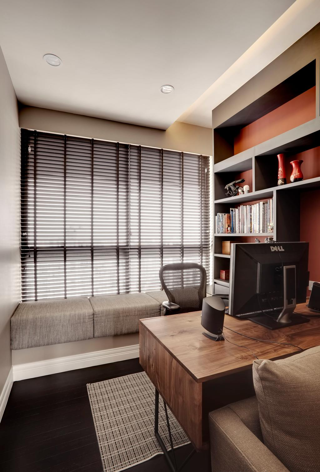 Contemporary, Condo, Study, Aalto, Interior Designer, The Orange Cube, Bay Window, Blinds, Wood Desk, Shelving, Book Shelves, Chair, Furniture