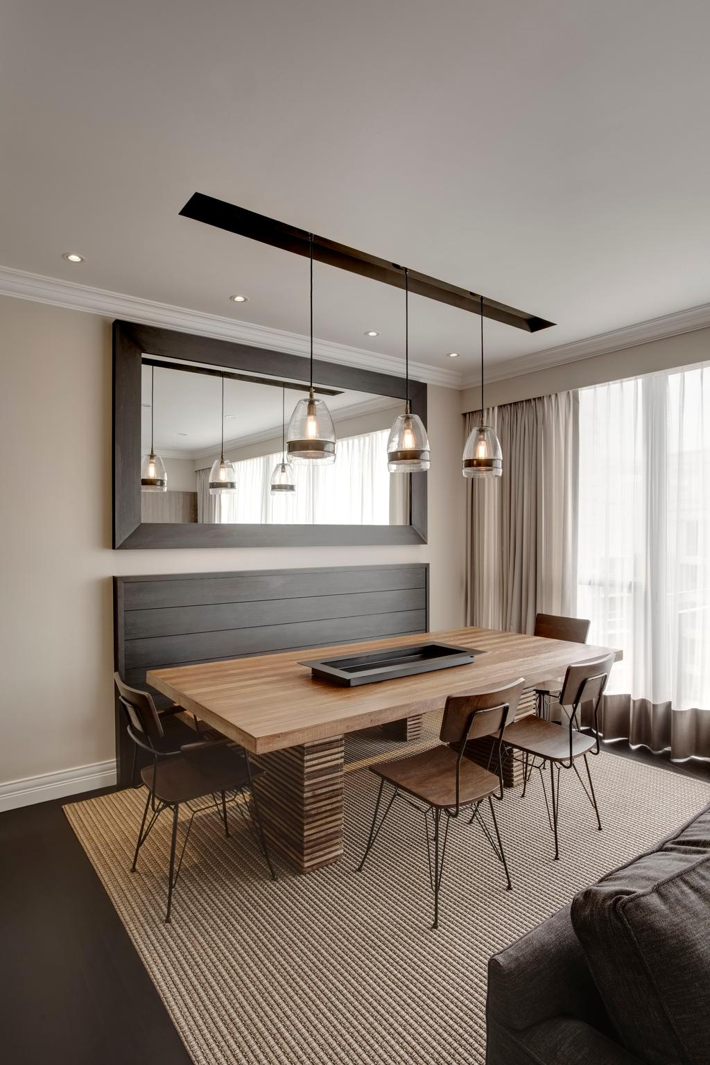 Contemporary, Condo, Dining Room, Aalto, Interior Designer, The Orange Cube, Down Lights, Dining Lights, Wood Table, Commune Table, Dining Chairs, Build In Bench, Brown Rug, Brown Carpet, Dining Table, Furniture, Table, Indoors, Interior Design, Room, Lighting