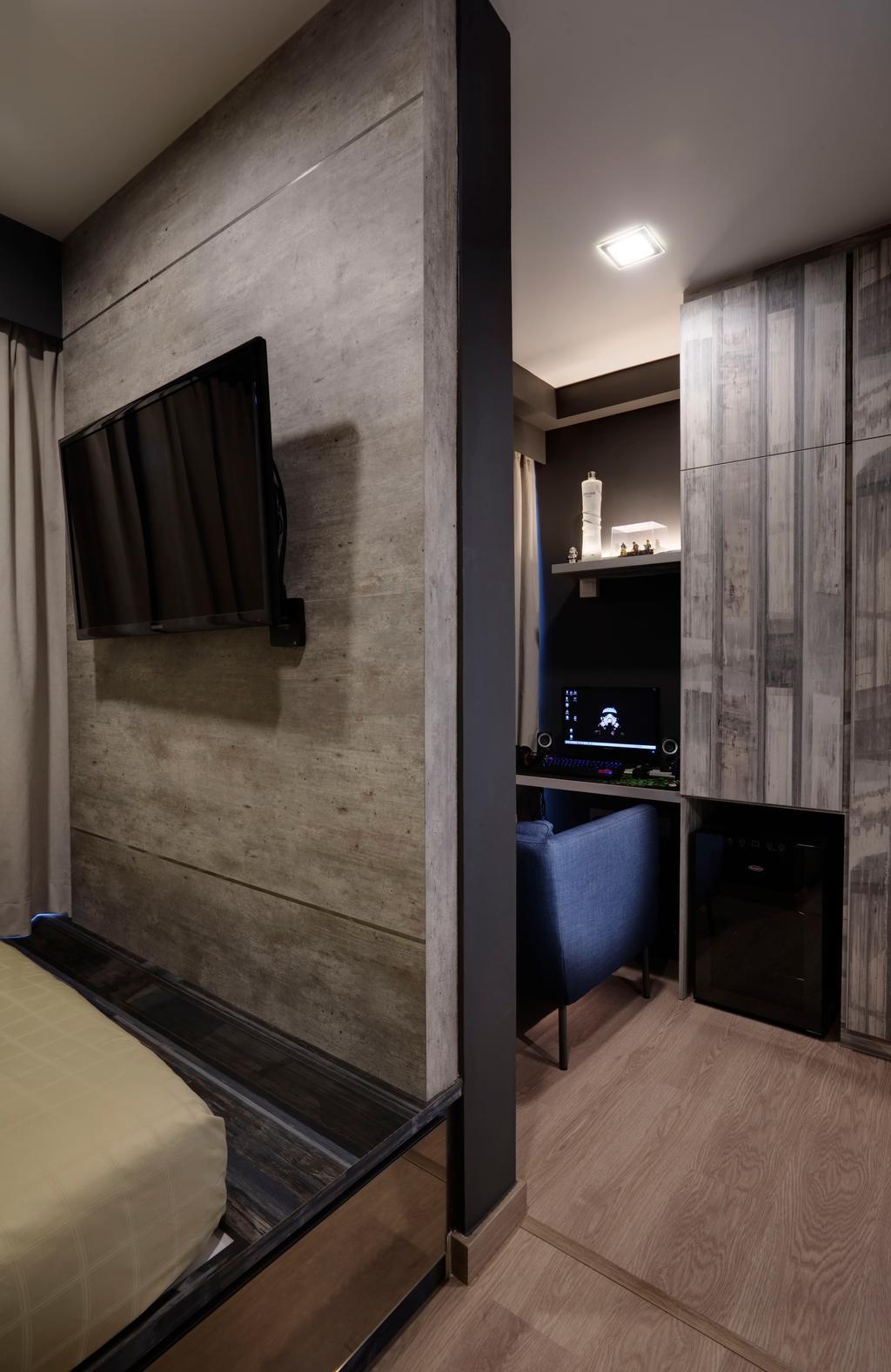 Contemporary, Condo, Bedroom, Austville Residences, Interior Designer, The Orange Cube, Feature Wall, Paltform, Wood Floor, Luggage, Suitcase