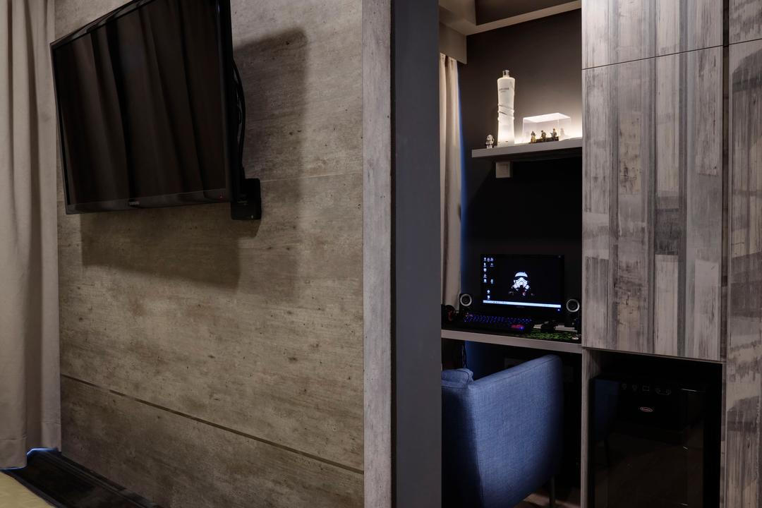 Austville Residences, The Orange Cube, Contemporary, Bedroom, Condo, Feature Wall, Paltform, Wood Floor, Luggage, Suitcase
