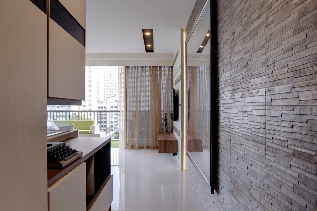 Austville Residences, The Orange Cube, Contemporary, Living Room, Condo, Brown Brick Wall, White Tiles, Appliance, Electrical Device, Oven, Electronics, Keyboard