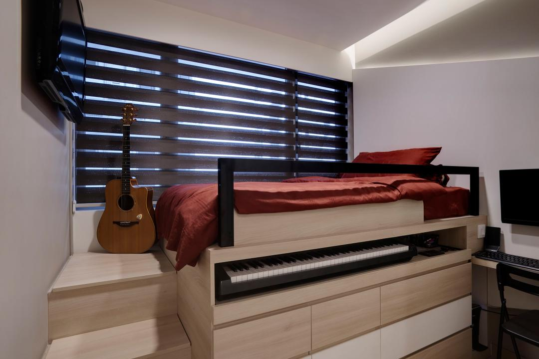 Austville Residences, The Orange Cube, Contemporary, Bedroom, Condo, Blinds, Platform Bed, Wood Drawers, Cove Light, Appliance, Electrical Device, Oven, Guitar, Leisure Activities, Music, Musical Instrument