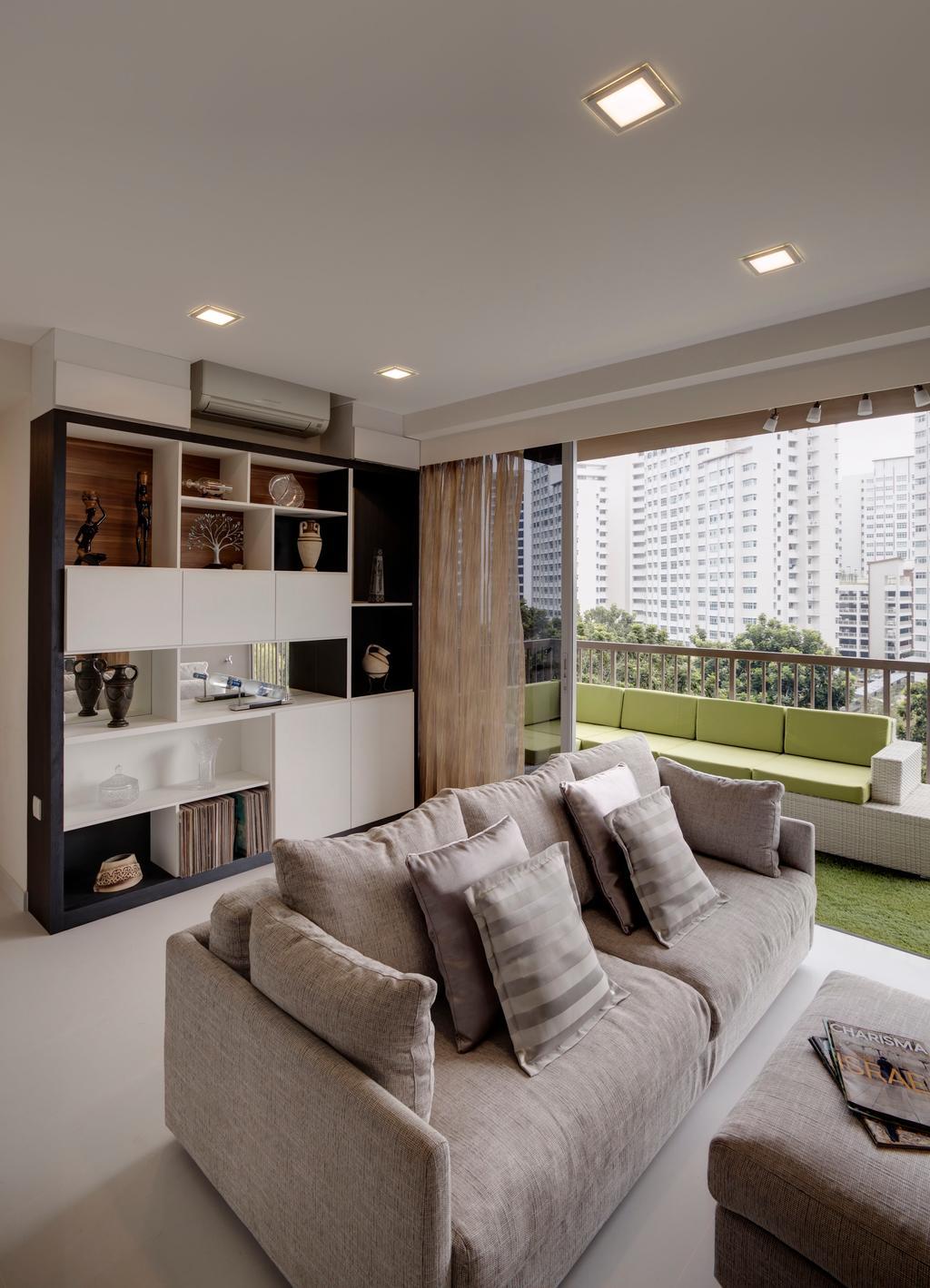 Contemporary, Condo, Living Room, Austville Residences, Interior Designer, The Orange Cube, Cream Fabric Sofa, Downlights, Shelving, Closet, Furniture, Wardrobe, Shelf