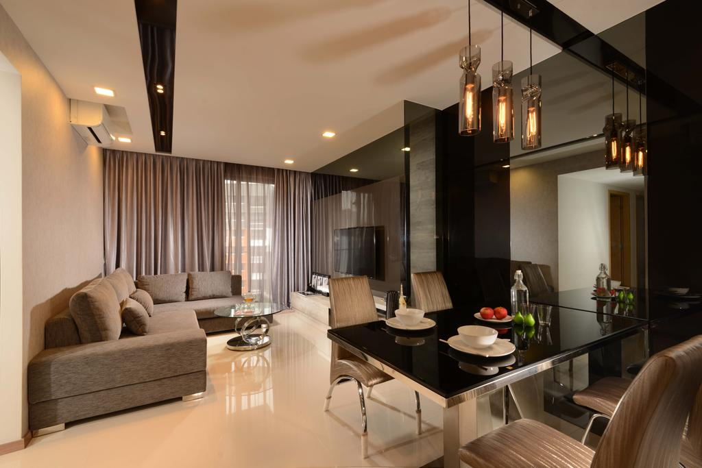 Contemporary, Condo, Living Room, Blossom Residences, Interior Designer, The Orange Cube, Modern, Black Glass Table, Cushion Dining Chairs, White Tiles, Down Lights, Track Lights, Dining Lights, Dining Table, Furniture, Table, Sink, Dining Room, Indoors, Interior Design, Room, Couch