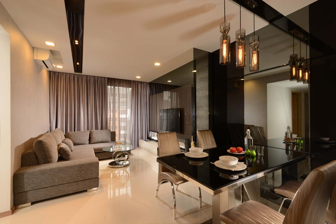 Blossom Residences, The Orange Cube, Contemporary, Living Room, Condo, Modern, Black Glass Table, Cushion Dining Chairs, White Tiles, Down Lights, Track Lights, Dining Lights, Dining Table, Furniture, Table, Sink, Dining Room, Indoors, Interior Design, Room, Couch