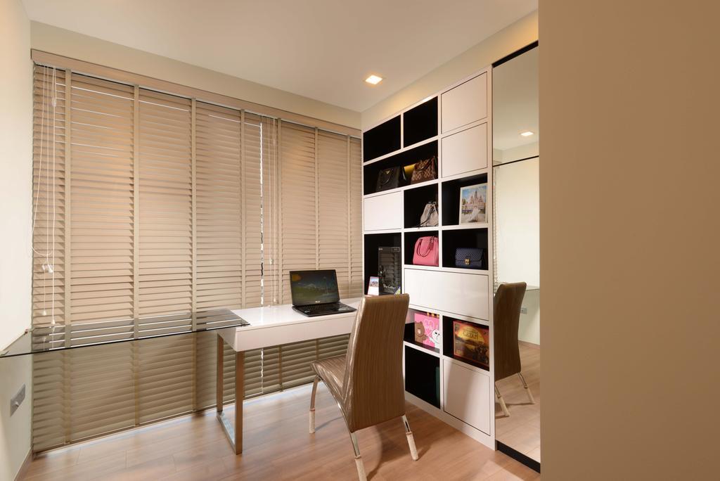 Contemporary, Condo, Study, Blossom Residences, Interior Designer, The Orange Cube, Modern, White Blinds, Shelving, Wood Floor