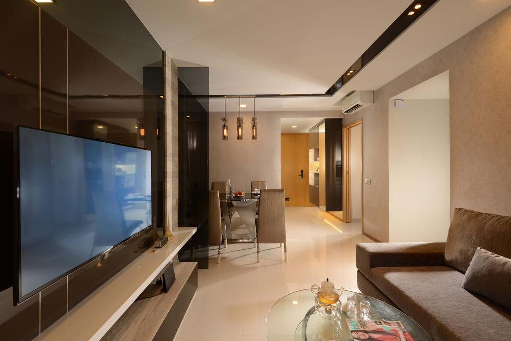 Contemporary, Condo, Living Room, Blossom Residences, Interior Designer, The Orange Cube, Black Feature Wall, White Tiles, Sofa, Track Lights, Dining Lights, Couch, Furniture, Lighting, Glass, Electronics, Entertainment Center