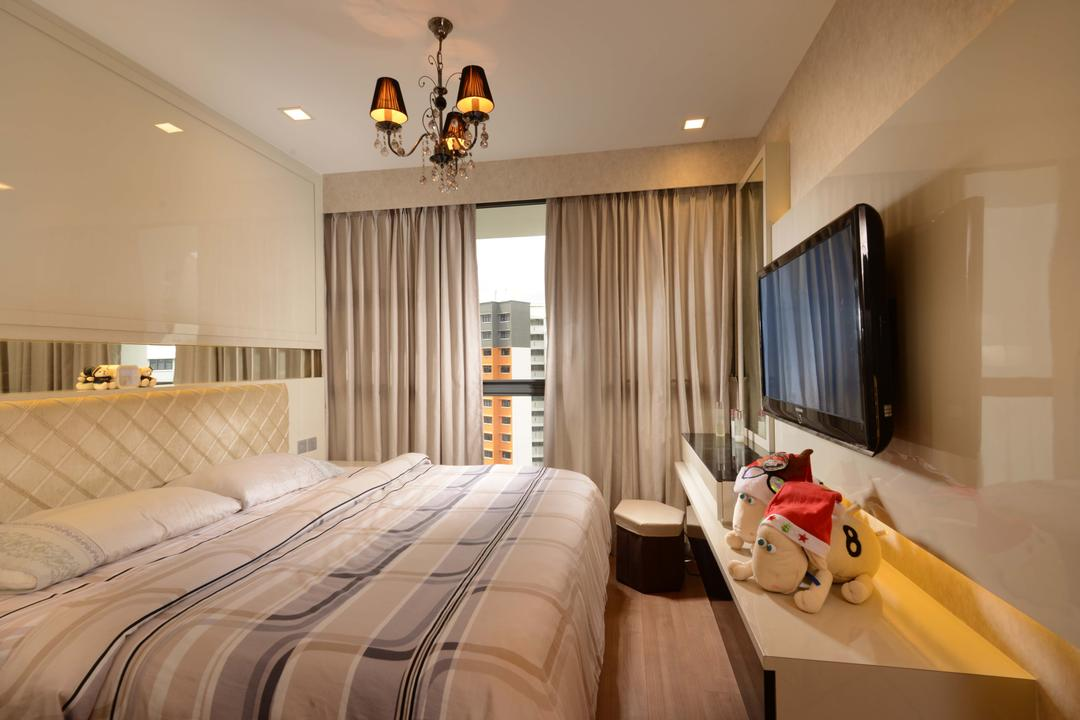Blossom Residences, The Orange Cube, Contemporary, Bedroom, Condo, Bedroom Lights, Hanging Lights, Bed Frame, Feature Wall, Cove Lights, Down Lights, Light Fixture, Teddy Bear, Toy, Indoors, Room, Interior Design