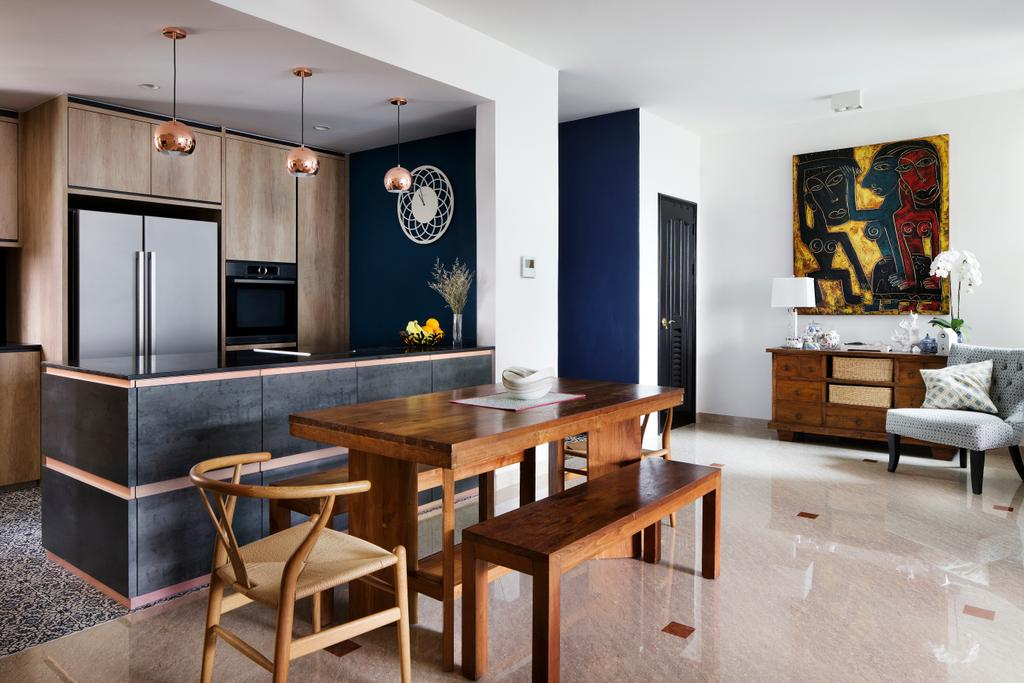 Eclectic, Condo, Dining Room, Spring Grove, Interior Designer, The Scientist, Chair, Furniture, Altar, Architecture, Building, Art, Modern Art, Dining Table, Table, Indoors, Interior Design, Room, Studio Couch